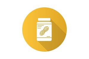 Peanut butter jar flat design long shadow glyph icon