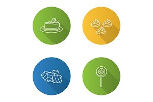 Confectionery flat linear long shadow icons set