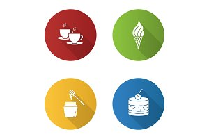 Confectionery flat design long shadow glyph icons set