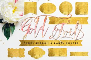 Gold Foil Ribbon & Label Shapes
