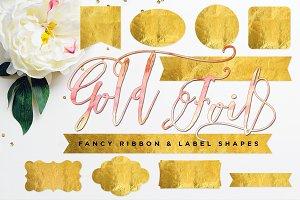 Gold Foil Ribbon & Label Shapes
