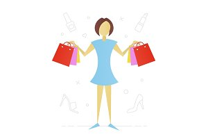 Woman with shopping bags flat character design