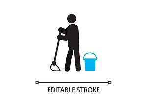 Person mopping floor silhouette icon
