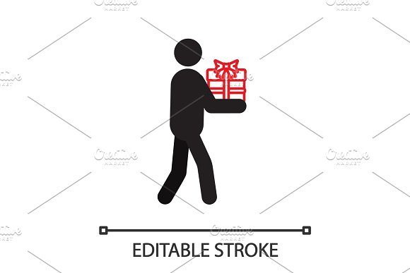 Man Holding Gift In Hands Silhouette Icon