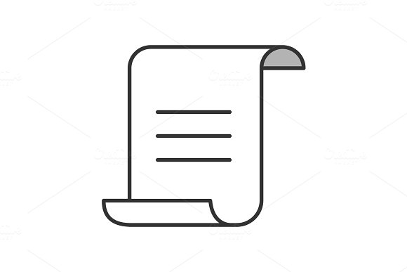 Paper Scroll With Text Color Icon