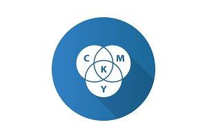 CMYK color circle model flat design long shadow glyph icon