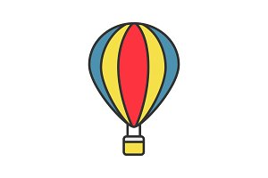 Hot air balloon color icon
