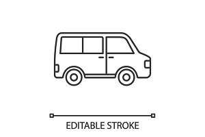 Minibus linear icon