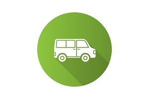 Minibus flat design long shadow glyph icon