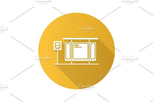 Bus Station Flat Design Long Shadow Glyph Icon