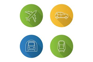 Public transport flat linear long shadow icons set