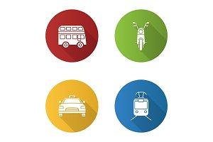 Public transport flat design long shadow glyph icons set