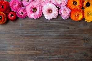Floral border on barn wood