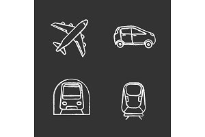 Public transport chalk icons set