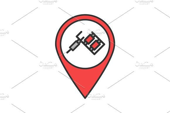 Tattoo studio location color icon