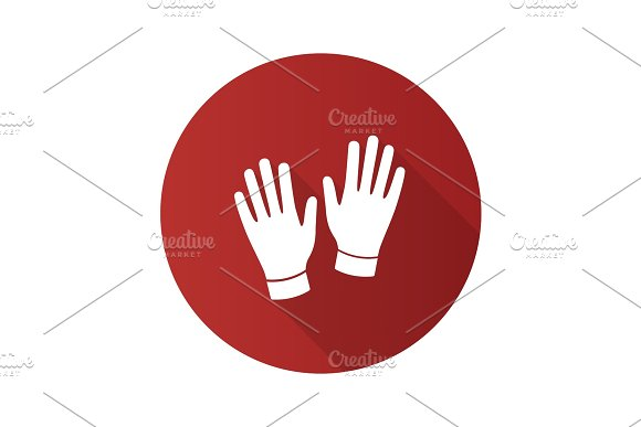 Medical Or Household Gloves Flat Design Long Shadow Glyph Icon
