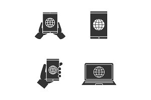 Internet connection glyph icons set