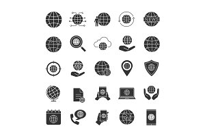 Worldwide glyph icons set