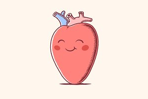 Human Heart Mascot Character