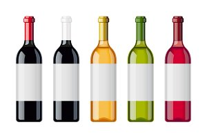 Set of wine bottles with different