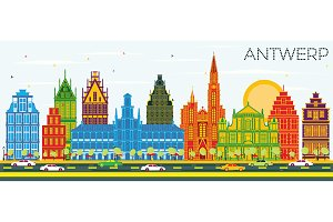 Antwerp Belgium City Skyline