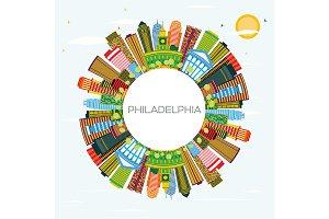 Philadelphia Skyline with Color