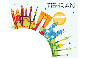 Tehran Skyline with Color Landmarks