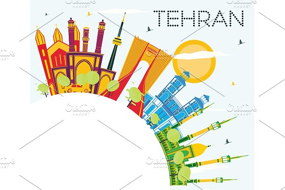 Tehran Skyline With Color Landmarks