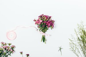 small bouquet of pink carnations