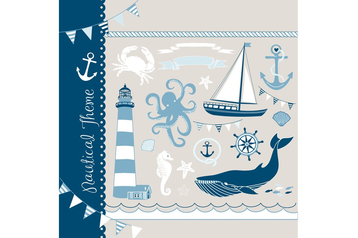 Nautical clip art, sea, anchor, boat ~ Illustrations ...