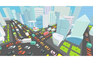City street Intersection traffic jams road 3d. Black lines outline contour style Very high detail view. A lot cars end buildings top view Vector illustration