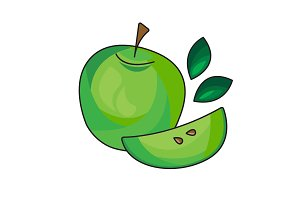Green apple vector icon on a white