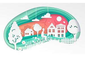 Country landscape - modern vector paper cut illustration