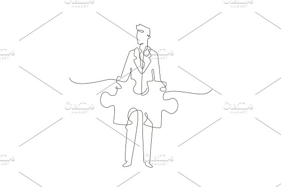 Businessman One Line Design Style Illustration