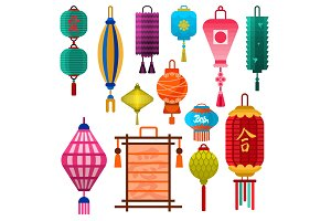 Chinese lantern vector paper lightertraditional holiday celebrate Asia festive or wedding lantern graphic celebration lamp illustration