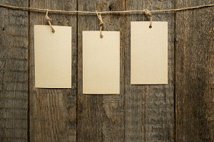 Paper notes on rope on wooden