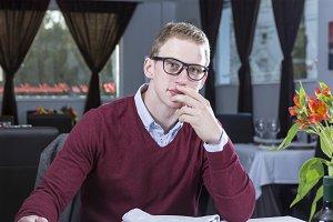 businessman at a restaurant