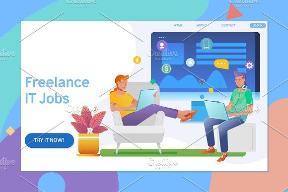 Creative Website Template Design Of Remote Working Freelancer Modern Information Technology People Work In A Team Flat Vector Illustration