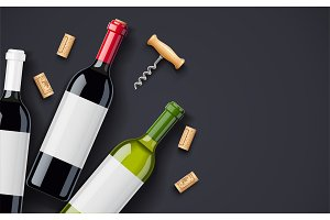 Red Wine bottle, cork and corkscrew