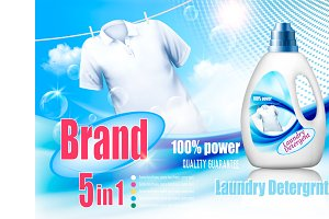 Laundry detergent ad. Vector