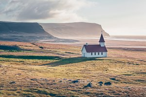 Typical Rural Icelandic Church at