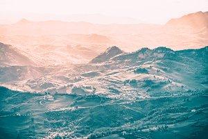 Outdoor Italian hills landscape at