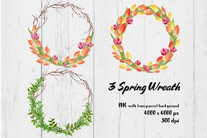 3 spring flower wreath