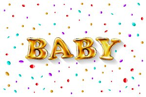 Gold letter baby balloons. Birthday