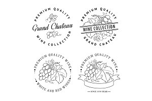 Template logo for wine with grapes.