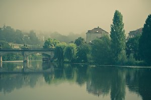 Picturesque view of Perigord town in
