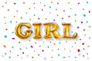 Gold letter girl shine glossy