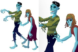 zombies cartoon isolated