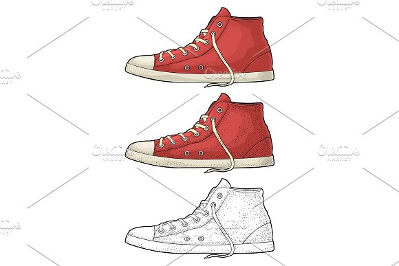 Retro Red Sneakers Vintage Color Engraving