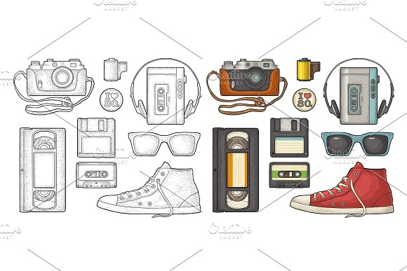 Set Retro Technology Object Vintage Color Black Engraving Illustration